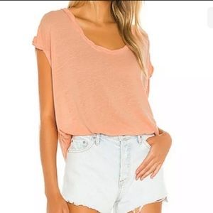 FREE PEOPLE Under The Sun Peach Pit Shirt Small